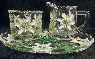 Vintage Hand Painted Crystal Cut Glass Milk Jug & Sugar Bowl on Tray