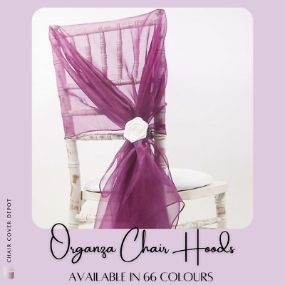 ORGANZA CHAIR HOODS / TIEBACK 110cm x 130cm- 65 COLOURS AVAILABLE WEDDING CHAIRS