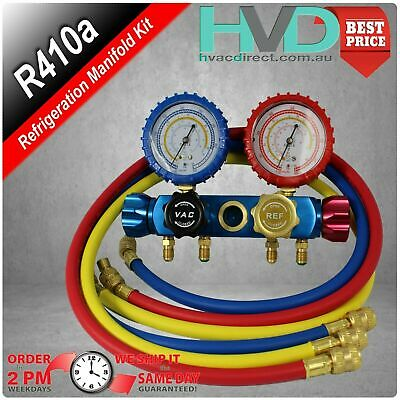 Refrigeration Manifold 4 Valve with Hoses Red, Yellow, Blue  R22 - R134 - R410