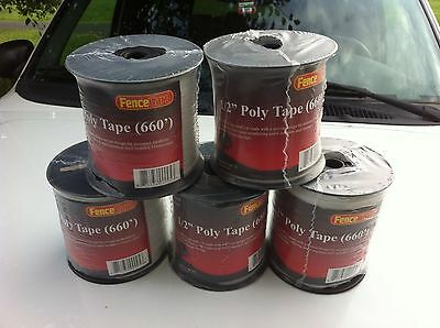 """5 rolls  1/2"""" wide Horse polytape 656' electric fence  White"""