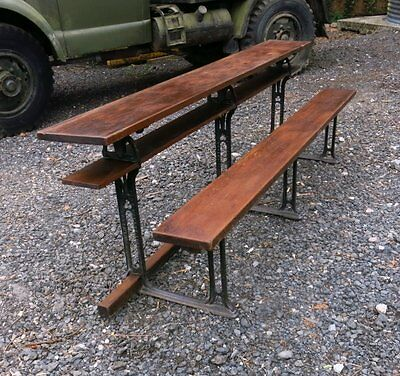 Antique Welsh Long Metamorphic Pitch Pine and Iron Bench Desk | We deliver