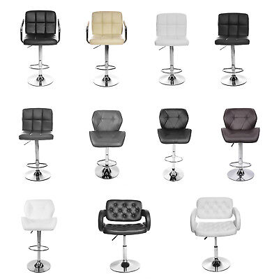 Panana Leather Breakfast Bar Stool Swivel Kitchen Bar Chair Chrome & Gas Lift