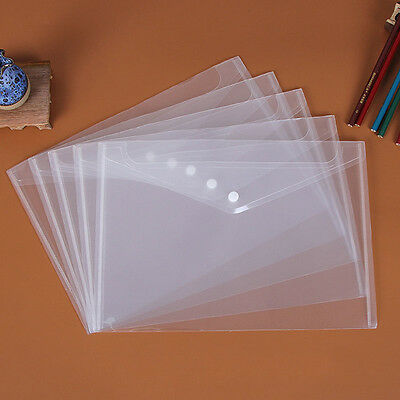 5pcs/Set Clear Paper Files Folder Document Bag A4 Size Office & Study Supplies