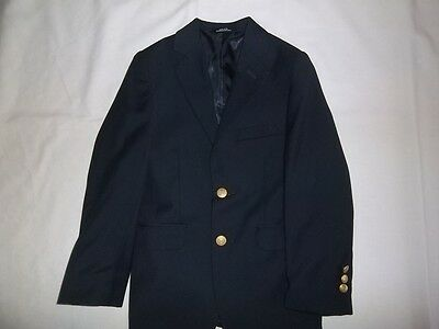 Boys CHAPS Navy 8% Wool BLAZER JACKET Size 8 R Regular Dress Suit Coat