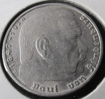 German 2 Mark Nazi Coin (1937 A ) With Swastika