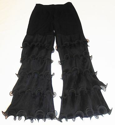 Vtg 60s Mod Ruffle Crop Pants S 4 6 High Waist Black Go Go Party Dance Costume