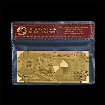 WR Gold Saudi Arabia Banknote 200 Riyals Gold Foi Bill In Sleeve Gift For Him