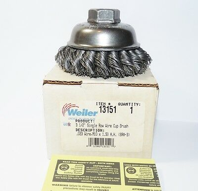 "Weiler Wire Brush #13151 3-1/2"" Wire Cup Brush M10 x 1.50"
