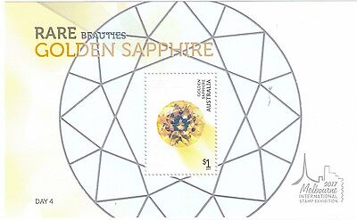 2017 Rare Beauties Golden Sapphire Mini Sheet Melbourne International Stamp Show