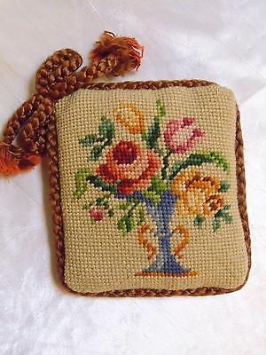 Fine Antique Fancy Trim Needlepoint Petit Point Pin Cushion Sewing Pillow VGC