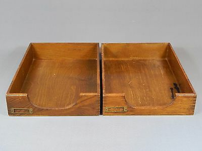 Vintage Pair Wooden Desk Top Filing Letter Trays Dovetails Office 30's 50's Oak