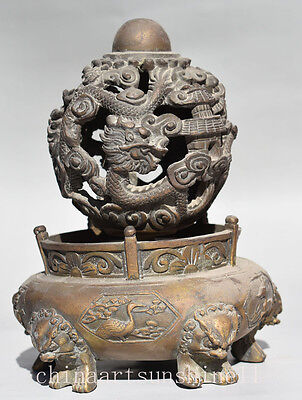 Exquisite China Handmade Carved Bronze Rotating Dragon Ball Incense Burner Colle