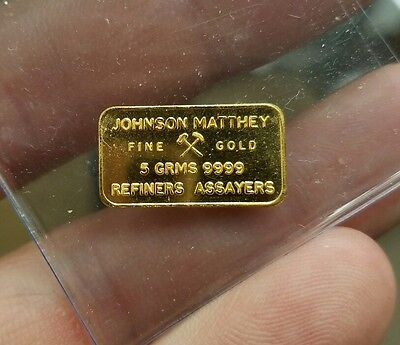 Johnson Matthey London 5 gram .9999 Gold Bar