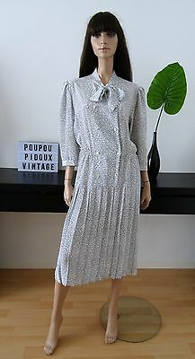 Robe vintage blanche pois noir col cravate taille 42 - uk 14 - us 10