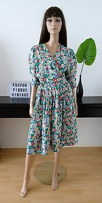 Robe vintage portefeuille fleurie taille 38 - uk 10 - us 6