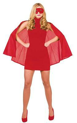 Red Adult Super Hero Cape With Mask Fancy Dress Accessory