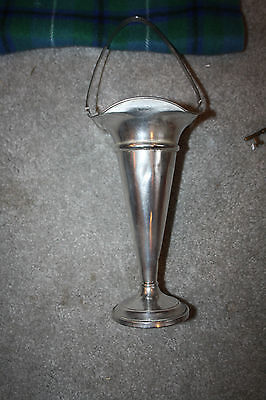 "Sterling Silver Trumpet Vase With Handle 8"" tall not counting handle Art Deco"
