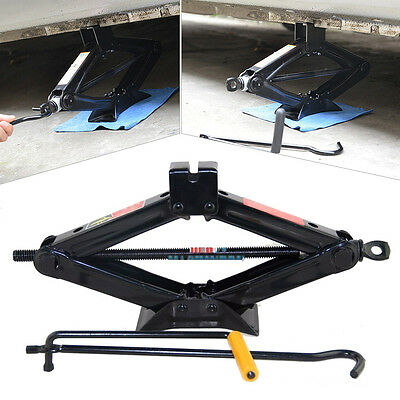 2T Ton Scissor Wind Up Jack Lift For Car Van Crank Speed Handle Garage Emergency