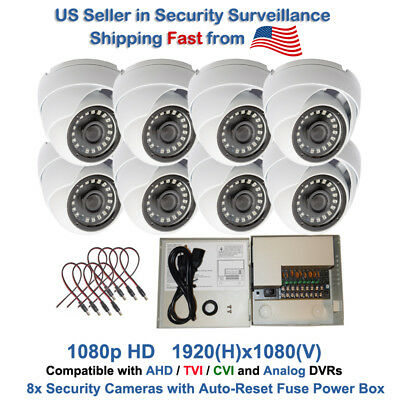 8 pcs HD CCTV AHD TVI CVI Night Vision Security Camera with 8 Port Power Supply
