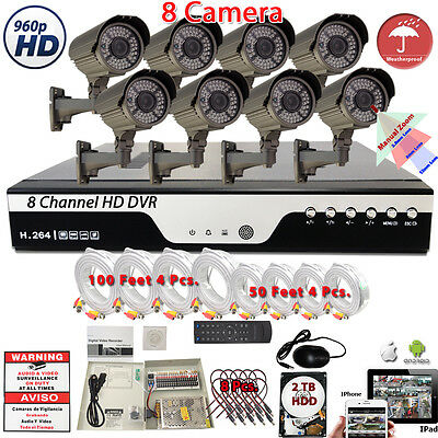 8 Channel DVR w/ 8 960P HD 4in1 Night Vision CCTV Security Bullet Camera Set 2TB