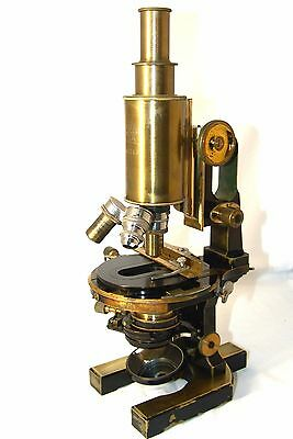 antique brass MICROSCOPE CARL ZEISS JENA ,Germany,№ 45142,original box