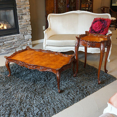 Beautiful Hand Carved Mahogany Coffee and 2 Side Tables set in Burl veneer