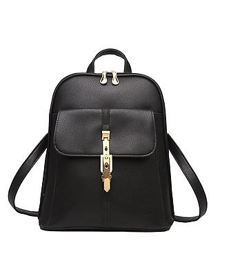 NEW Womens Backpack Black Pu Leather Casual Daypack Travel Bag for Ladies Girls