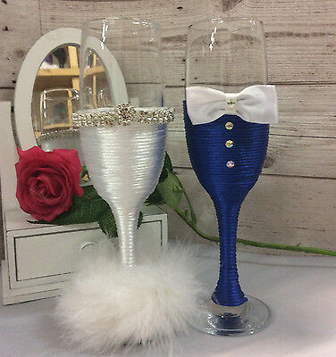 Mr & Mrs glasses BRIDE and GROOM  Wedding Glasses Champagne Flutes blue white