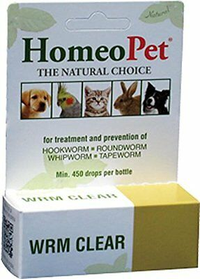 Homeopet Wrm Clear Tape Worm Hook Round Whip Dog Bird Rabbit Cat. Free Ship Usa