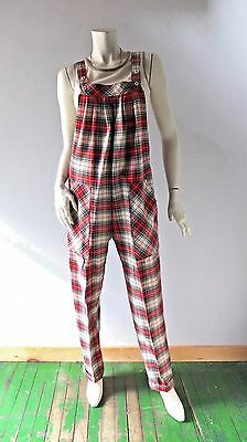 1970s Vintage TROUSERS UP Red Plaid Overall Jumpsuit sz M 6 8 Patrick Kelly Punk