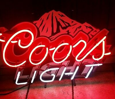 Coors Light Beer Neon Lit Bar Sign Colorado Mountains (Used)