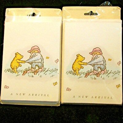 Classic Winnie the Pooh Baby Birth Cards NEW ARRIVAL 2 Pkgs 20 Cards Env Michel