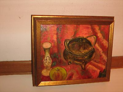 Vintage Picture frame & Oil Painting on Canvas