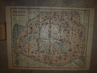 Antique Plan Monumental de Paris pocket map, Collection des Plans /Cartes Taride