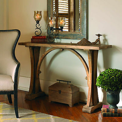 """54"""" Solid Reclaimed Fir Wood Sun Faded Finish Sofa Console Table Vintage Style"""