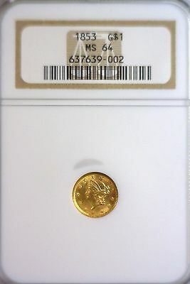 1853 Type 1 Gold $1, NGC graded MS64