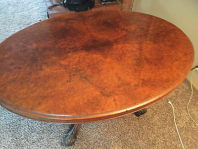19th Century Victorian Burr Walnut Oval Tilt Top Table