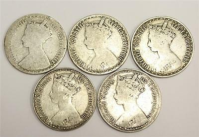 1856 1858 1859 1881 & 1883 Great Britain Gothic Silver Florins AG to VG 5-coins