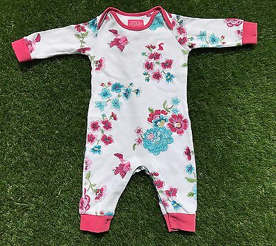 JOULES Floral Print Baby Girls 3-6 Months Babygrow Romper Outfit