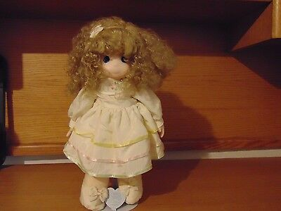 """Vintage Precious Moments Plush Doll 16"""" Vinyl Face - With Stand"""
