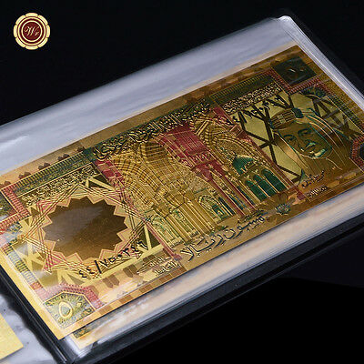 WR Full Saudi Arabia Gold Banknote Set Colored 20 - 500 Riyals Bills In Album