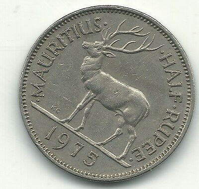 High Grade 1975 Mauritius Half Rupee Coin-May360