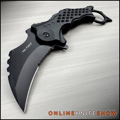 TAC-FORCE RESCUE Assisted Open Black TACTICAL KARAMBIT CLAW Folding Pocket Knife