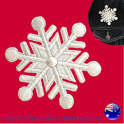 Snowflake Iron on patch - Christmas in July Winter snow crystal shape embroidery