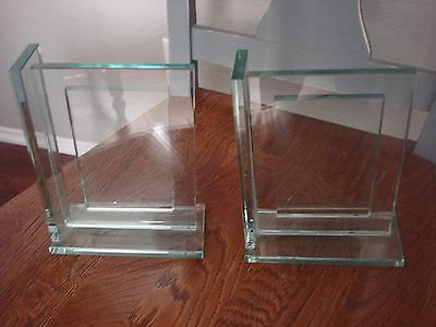 """Green Glass Bookends Art Deco Mid Century Heavy Solid with Photo Insert 7.5"""""""
