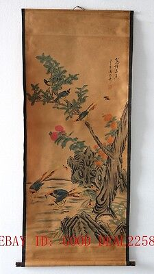 Old Scroll Chinese Ink And Wash Painting/ Birds' Twitter And Fragrance Of Flower