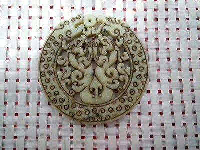 Chinese old hard jade natural hand-carved jade carving exquisite design amulet A