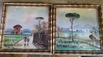 Vintage 2 Signed Petrilli Art Italian Landscape Oil Painting On Tile