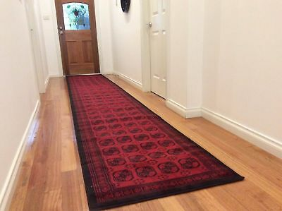 Hallway Runner Hall Runner Rug Modern Red Black 4 Metres Long FREE DELIVERY