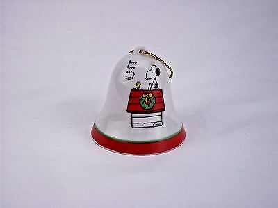 Vintage Snoopy Woodstock Peanuts Ceramic Bell Christmas Ornament Japan